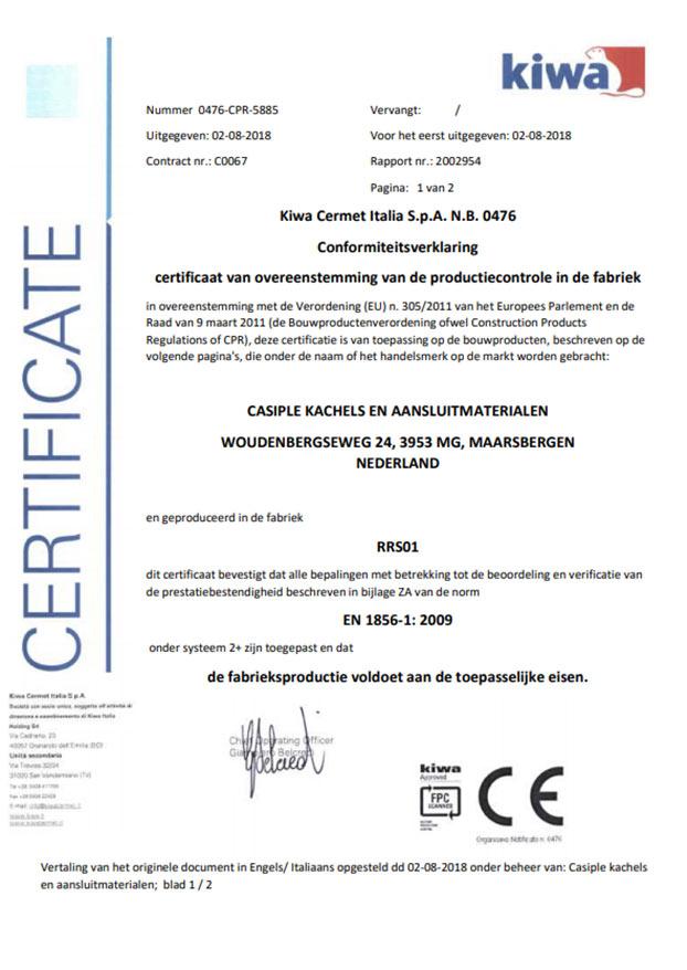certifcaat dakdoorvoer van isotube plus aangaande veiligheid