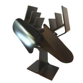 Galafire v266 met twee bladen. Stille ventilator voor houtkachel of speksteenkachel