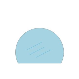 Kachelruit voor een grote Brutus Country houtkachel, ronde ruit met afgesneden onderkant
