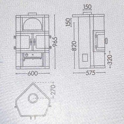 Maattekening van de Scan 9 Hoek houtkachel