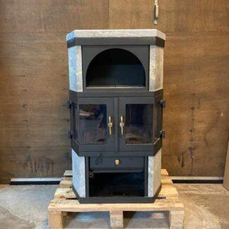 scan 9h speksteen hoekmodel met houtvak, kachel voor in de hoek